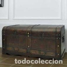 Antigüedades: GRAN COFRE DE MADERA ESTILO ANTIGUO. Lote 151600354