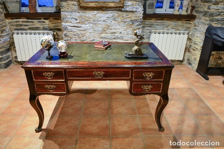 Antigüedades: ESCRITORIO PALO SANTO ESTILO LUIS XV - Foto 6 - 151609914