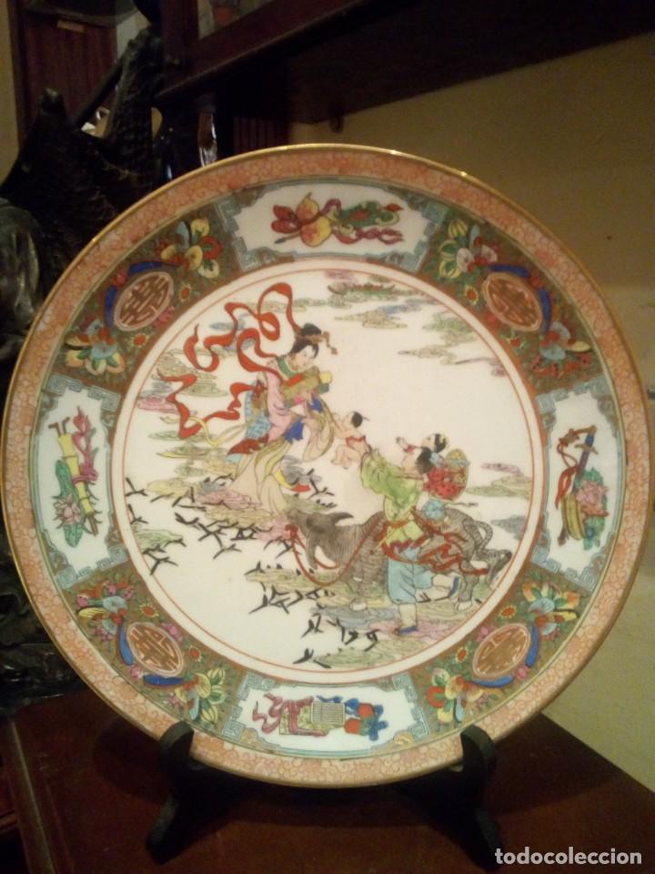 ANTIGUO PLATO SXIX EN PORCELANA CHINA (Antigüedades - Porcelanas y Cerámicas - China)