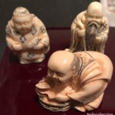 Antigüedades: LOTE DE 3 NETSUKE DE SIMIL DE MARFIL. Lote 151626085