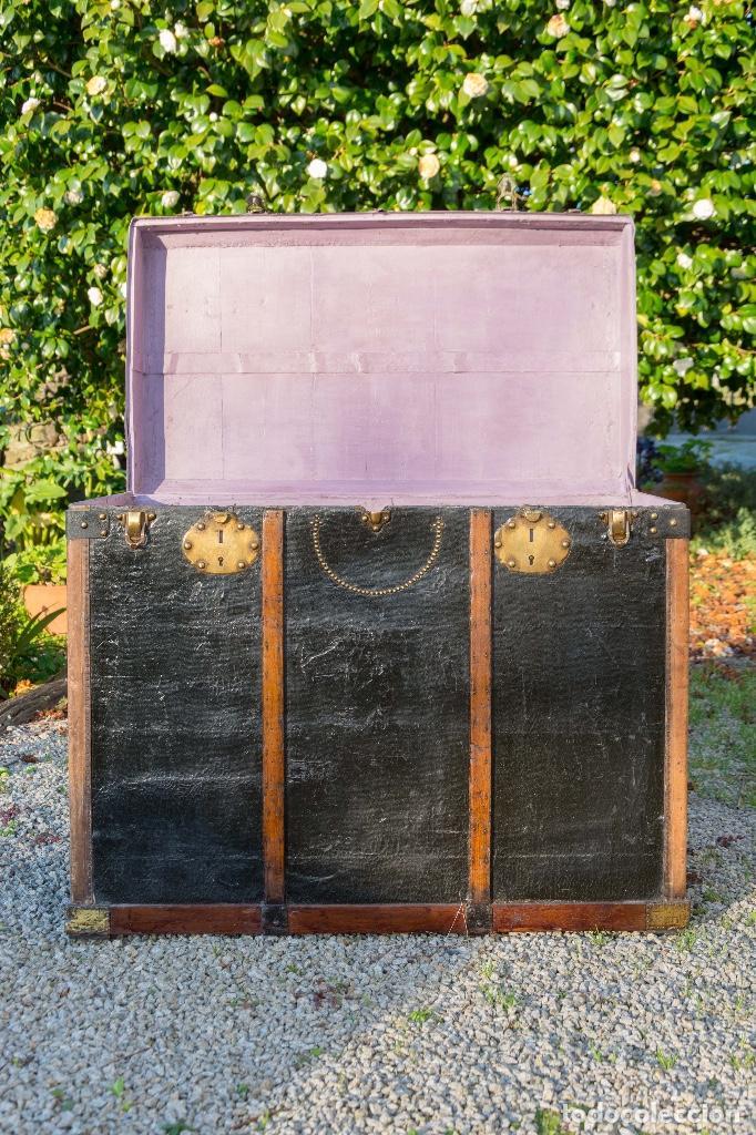 Antigüedades: BAUL DE COCHE 1900 - Foto 4 - 151633258