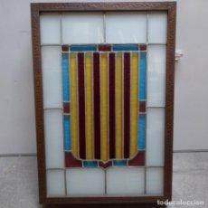 Antigüedades: PLAFON DE CRISTAL APLOMADO DEL ESCUDO DE CATALUNYA.CON FUORESCENTES.. Lote 151659974