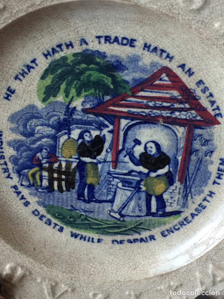 Antigüedades: Plato porcelana ingles muy antiguo pintado a mano. - Foto 3 - 151664364