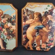 Antigüedades: PAREJA DE CUADROS ANGELITOS. Lote 151668802
