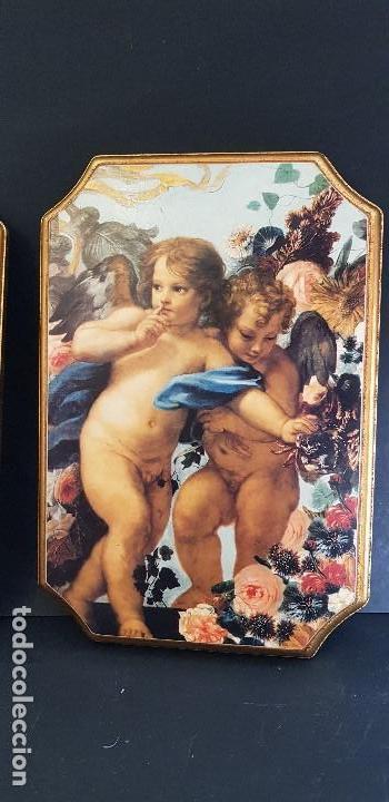 Antigüedades: PAREJA DE CUADROS ANGELITOS - Foto 2 - 151668802