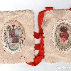 Antigüedades: ESCAPULARIO. MEDIDAS : 11 X 9 CM APROX. PIO IX. 14 DE JULIO 1877. APOSTOLADO DE LA ORACION.. Lote 151697266