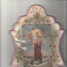 Antigüedades: MARCO TROQUELADO DE TELA PLASTIFICADA DE LA VIRGEN DEL CARMEN. DISPLAY. MEDIDAS : 24 X 15 CM APROX.. Lote 151705902