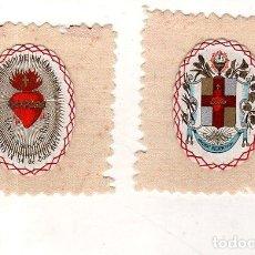 Antigüedades: ESCAPULARIO. MEDIDAS : 10 X 9 CM APROX. PIO IX. 14 DE JULIO 1877. APOSTOLADO DE LA ORACION.. Lote 151710098