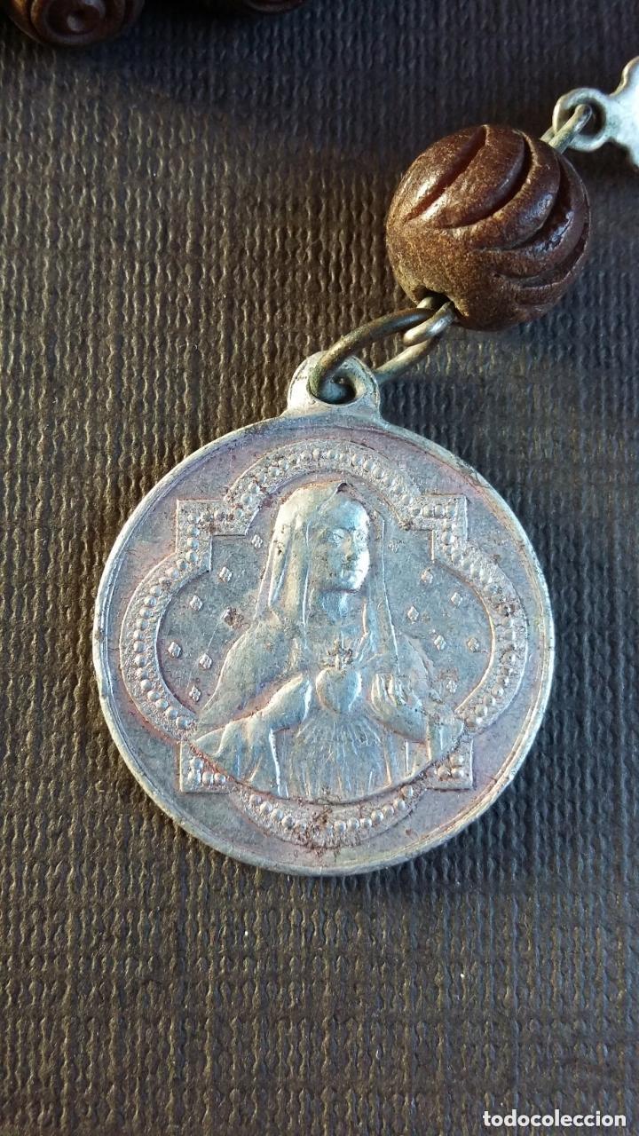 Antigüedades: ROSARIO DE MADERA, PLATA Y ALUMINIO. ÚLTIMO TERCIO S. XIX - Foto 6 - 151715190