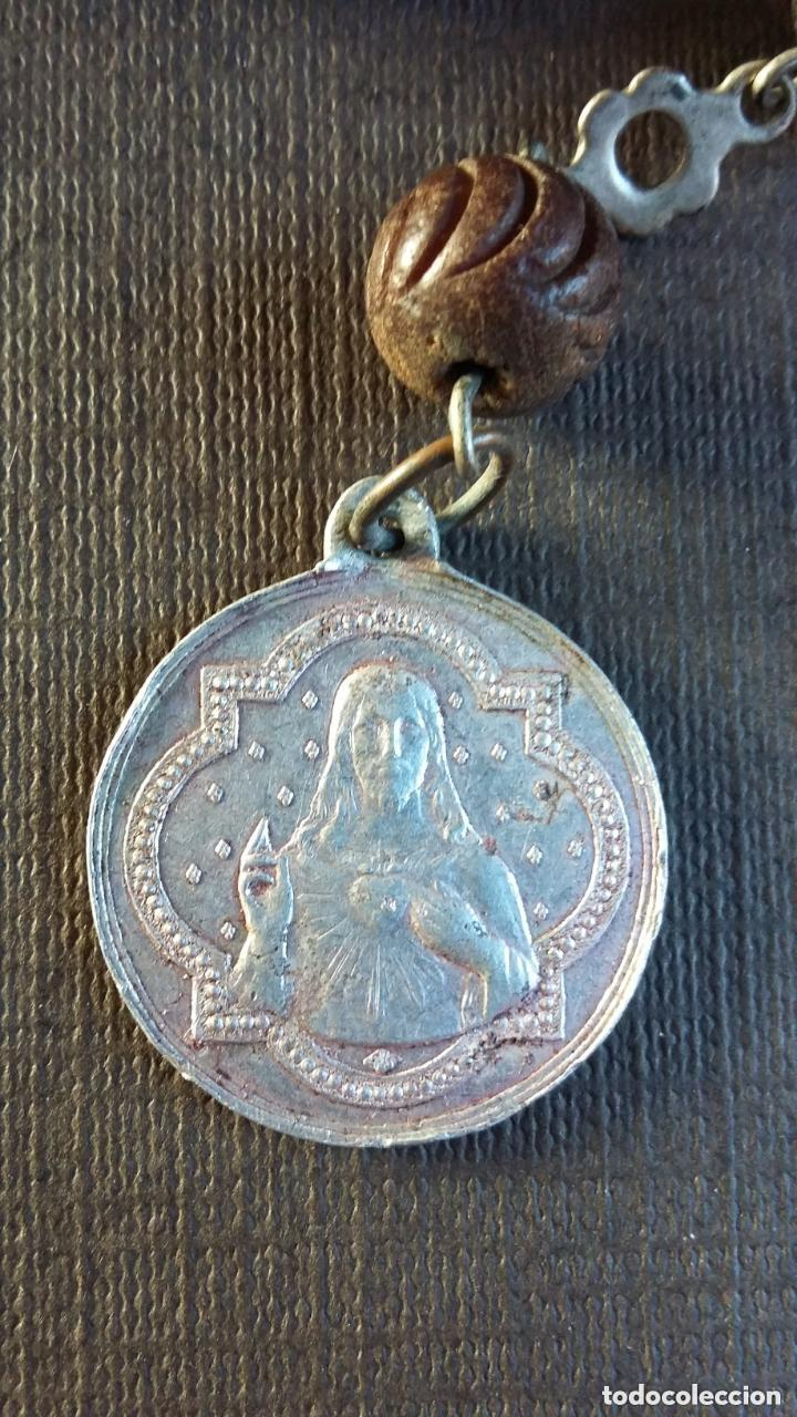 Antigüedades: ROSARIO DE MADERA, PLATA Y ALUMINIO. ÚLTIMO TERCIO S. XIX - Foto 7 - 151715190
