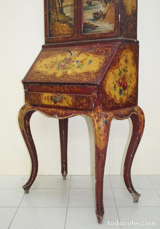 Antiquitäten: ANTIGUO MUEBLE ESCRITORIO CON ALTILLO PINTADO A MANO - Foto 2 - 151741786
