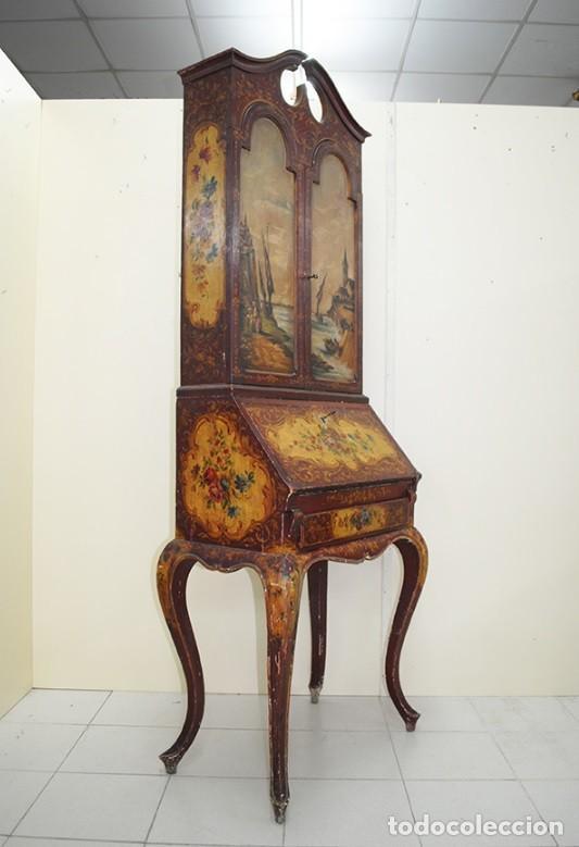 Antiquitäten: ANTIGUO MUEBLE ESCRITORIO CON ALTILLO PINTADO A MANO - Foto 3 - 151741786