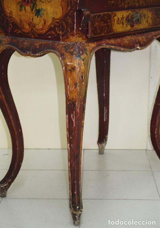 Antiquitäten: ANTIGUO MUEBLE ESCRITORIO CON ALTILLO PINTADO A MANO - Foto 4 - 151741786