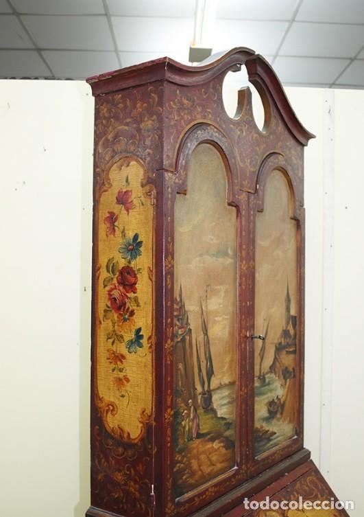Antiquitäten: ANTIGUO MUEBLE ESCRITORIO CON ALTILLO PINTADO A MANO - Foto 5 - 151741786