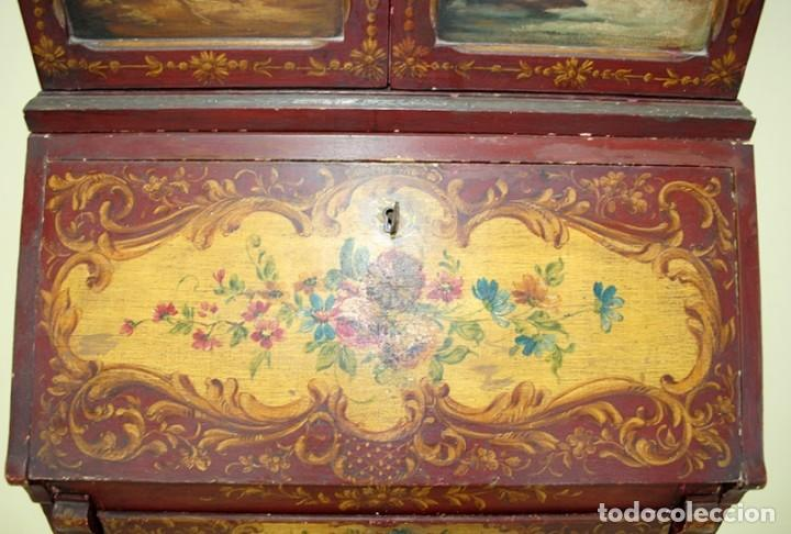 Antiquitäten: ANTIGUO MUEBLE ESCRITORIO CON ALTILLO PINTADO A MANO - Foto 7 - 151741786