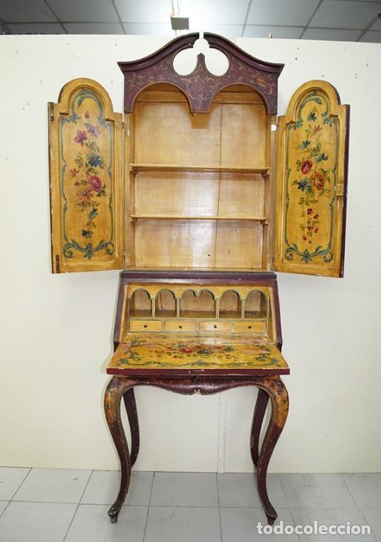 Antiquitäten: ANTIGUO MUEBLE ESCRITORIO CON ALTILLO PINTADO A MANO - Foto 8 - 151741786