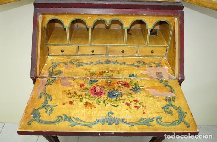 Antiquitäten: ANTIGUO MUEBLE ESCRITORIO CON ALTILLO PINTADO A MANO - Foto 9 - 151741786
