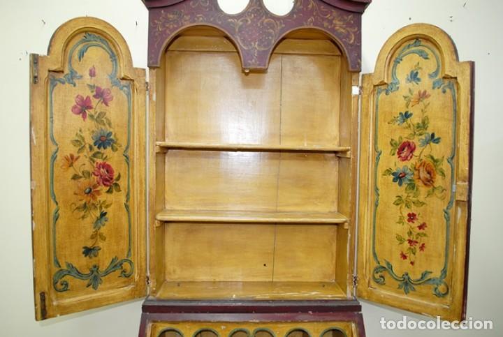 Antiquitäten: ANTIGUO MUEBLE ESCRITORIO CON ALTILLO PINTADO A MANO - Foto 10 - 151741786