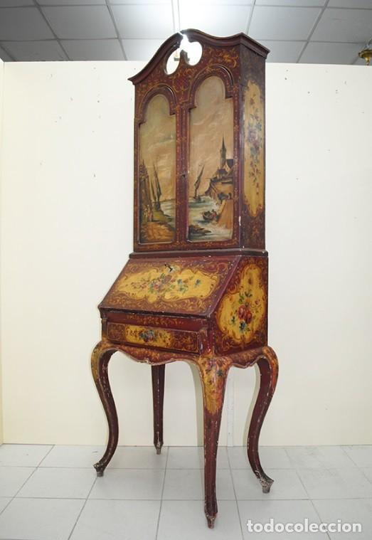 Antiquitäten: ANTIGUO MUEBLE ESCRITORIO CON ALTILLO PINTADO A MANO - Foto 11 - 151741786