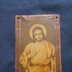 Antigüedades: ANTIGUA CHAPA PARA PUERTA DEL SAGRADO CORAZON MIDE 15,5 X 10 CMS.. Lote 151852702