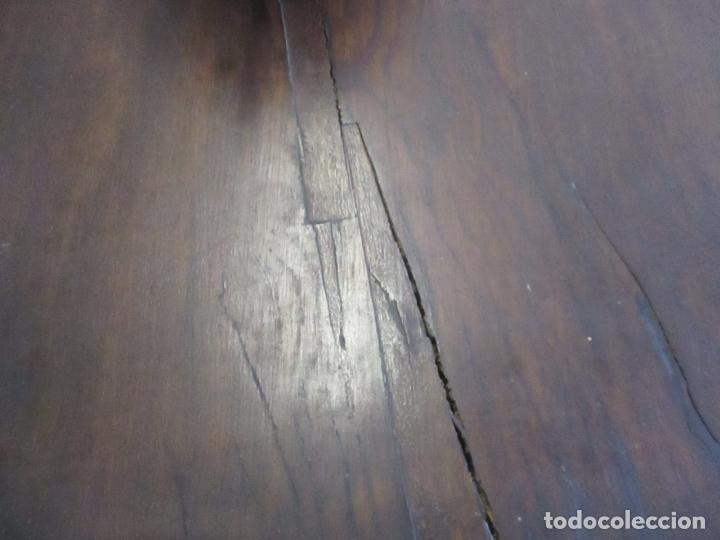 Antigüedades: Gran Mesa Estilo Barroco - Sobre de una Pieza en Madera de Roble - 3 Patas de Lira -Hierros Forjados - Foto 19 - 151855790