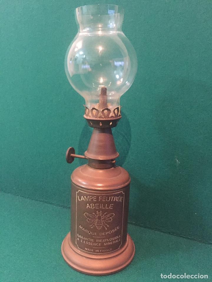 LÁMPARA DE ACEITE,LAMPE FEUTREE OLYMPE MARQUE DEPOSEE.24X8CM (Antigüedades - Iluminación - Quinqués Antiguos)