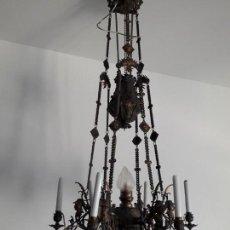 Antigüedades: LÁMPARA DE HIERRO FUNDIDO GRAN FORMATO. Lote 151858426
