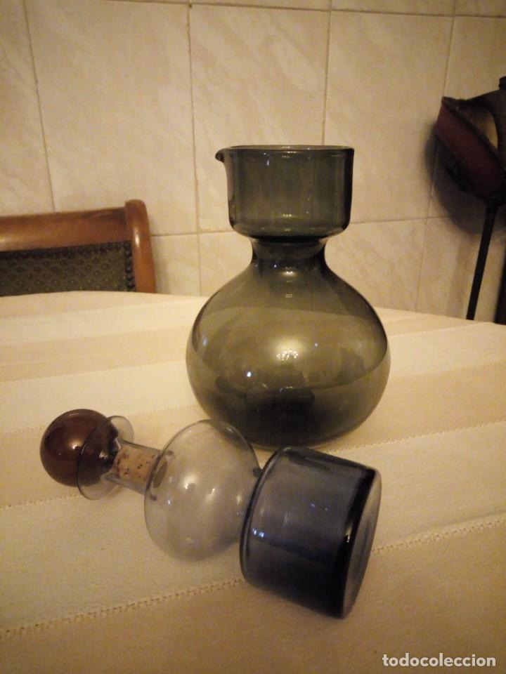 Antigüedades: Antiguo servicio de jarra y licorera de cristal en 3 colores,para servir anis con agua. - Foto 6 - 151878134