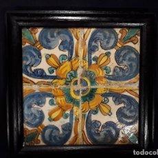 Antigüedades: CUATRO AZULEJOS ENMARCADOS. VALENCIA. 2ª MITAD SIGLO XVII - PRINCIPIOS XVIII.. Lote 151878346