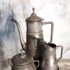 Antigüedades: JUEGO DE CAFÉ DE ALPACA ANTIGUO. Lote 151908506