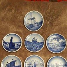 Antigüedades: PRECIOSO LOTE DE 10 PLATILLOS DE PORCELANA ROYAL COPENHAGEN - DENMARK - FAJANCE. Lote 151912146