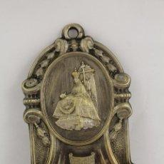 Antigüedades: BENDITERA ANTIGUA EN METAL Nª Sª DE LAS ANGUSTIAS - GRANADA. Lote 151931570
