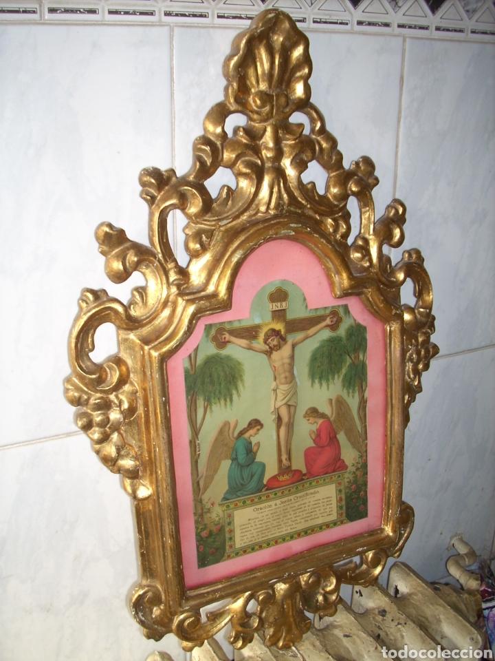 ANTIGUA CONUCOPIA DE MADERA DE ORO FINO 60 X 39 MUY BUEN ESTADO (Antigüedades - Muebles Antiguos - Cornucopias Antiguas)