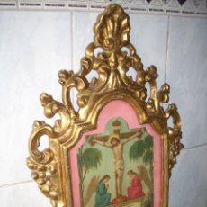 Antigüedades: ANTIGUA CONUCOPIA DE MADERA DE ORO FINO 60 X 39 MUY BUEN ESTADO. Lote 151962342