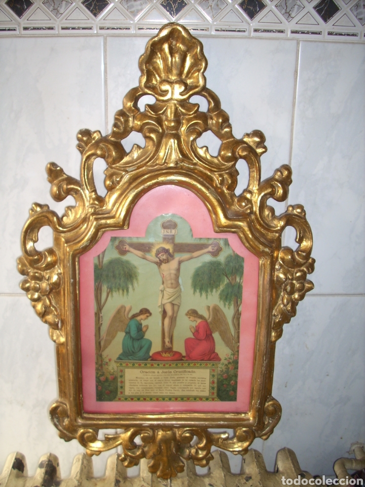 Antigüedades: Antigua Conucopia de Madera de oro fino 60 x 39 Muy buen estado - Foto 2 - 151962342