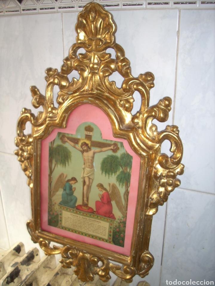 Antigüedades: Antigua Conucopia de Madera de oro fino 60 x 39 Muy buen estado - Foto 3 - 151962342