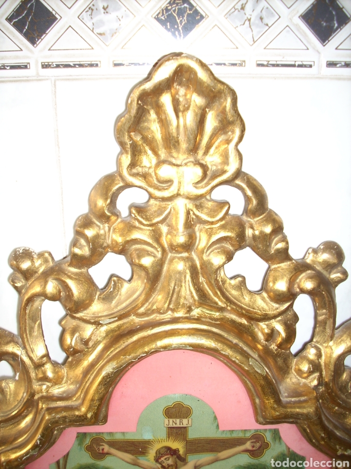 Antigüedades: Antigua Conucopia de Madera de oro fino 60 x 39 Muy buen estado - Foto 4 - 151962342