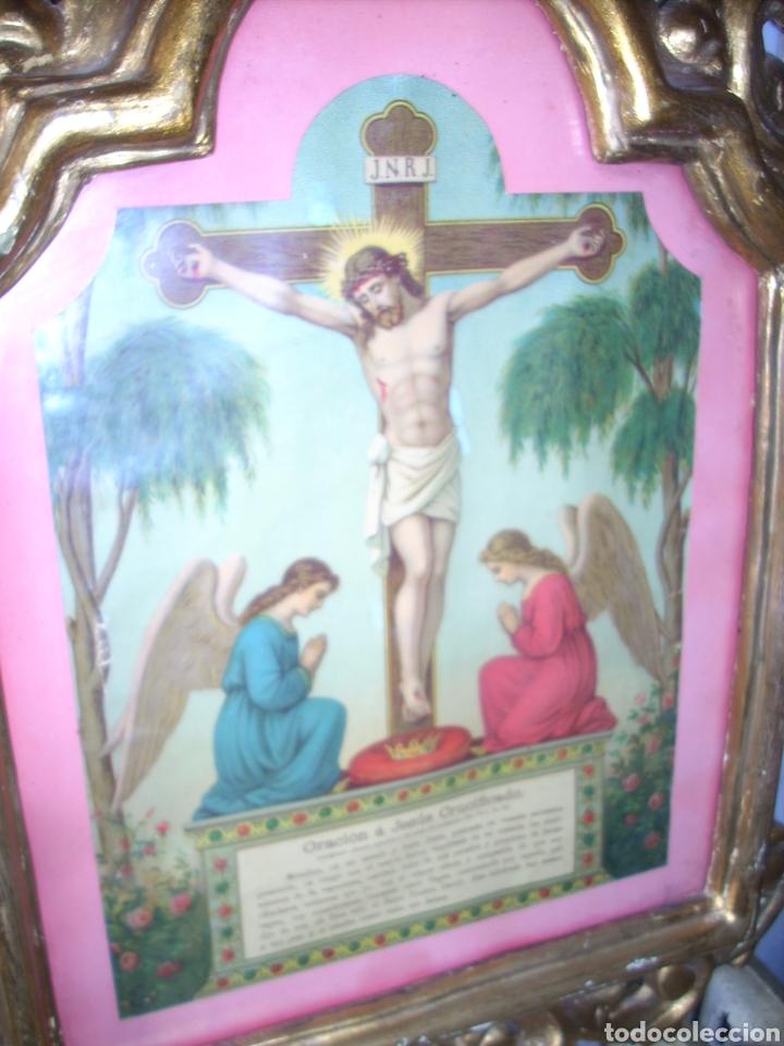 Antigüedades: Antigua Conucopia de Madera de oro fino 60 x 39 Muy buen estado - Foto 6 - 151962342