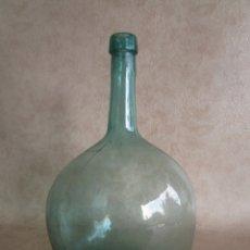 Antigüedades: ANTIGUA DAMAJUANA SOLPADA BOTELLA CRISTAL SOPLADO DENTRO DE MOLDE 5 LITROS. Lote 31022387