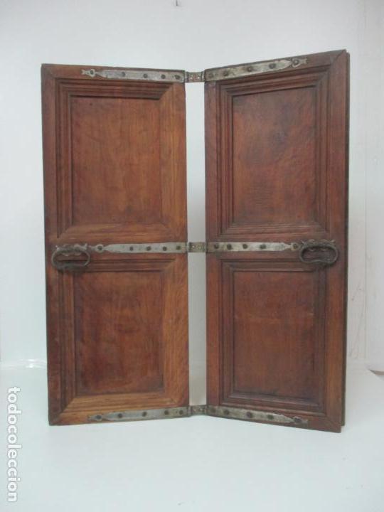 Antigüedades: Pareja de Antiguas Puertas de Armario - Madera de Ribera - Herrajes Originales - S. XVII - Foto 21 - 152014206