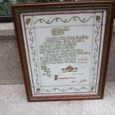 Antigüedades: CUBA - PUNTO DE CRUZ SOBRE LINO, BELLA COMPOSICION MOTIVOS Y POEMA DE JOSE MARTI, FIRMA AUTORA +. Lote 152024178