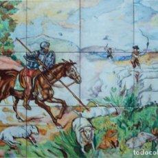 Antigüedades: CUADRO MURAL DE CERÁMICA BATALLA DE DON QUIJOTE CONTRA UN REBAÑO DE OVEJAS DE TALAVERA FIRMADO. Lote 152027782
