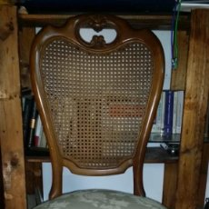 Antigüedades: TIPO ISABELINA CON RESPALDO DE REJILLA. Lote 152042002