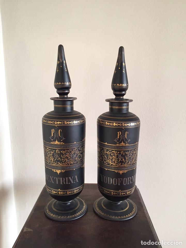 BOTES DE FARMACIA MUY ESPECIALES (Antigüedades - Cristal y Vidrio - Farmacia )