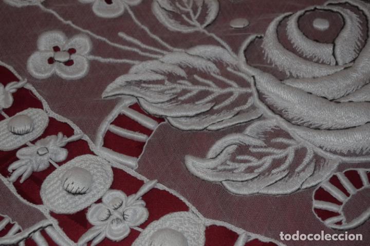 Antigüedades: frontal de altar en tul bordado a mano - Foto 3 - 152057598