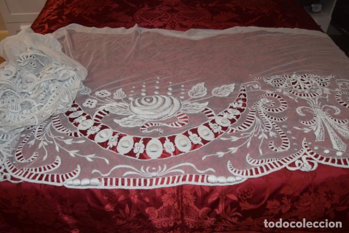 Antigüedades: frontal de altar en tul bordado a mano - Foto 4 - 152057598