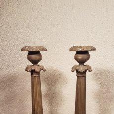 Antigüedades: PAREJA DE CANDELEROS / CANDELABROS DE BRONCE FRANCESES NAPOLEON III. SEGUNDA MITAD SIGLO XIX. Lote 152058297