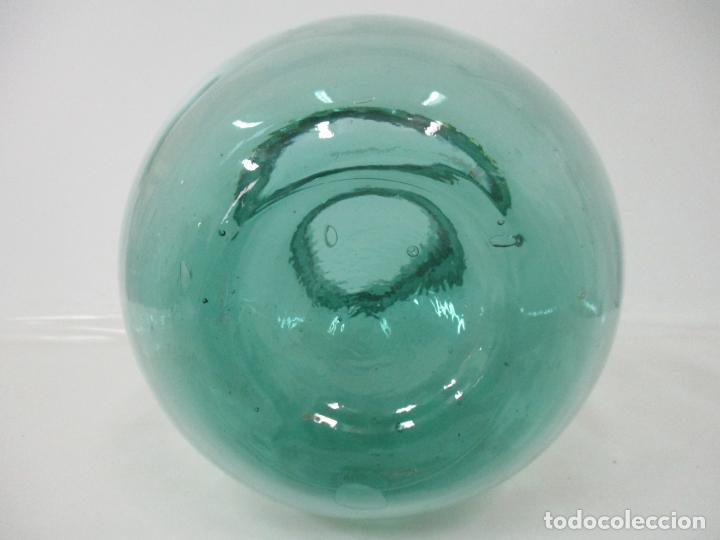 Antigüedades: Bote, Garrafa - Tarro, Damajuana de Cristal Soplado - Color Verde - Viresa - 32 cm Altura - Foto 2 - 171569812