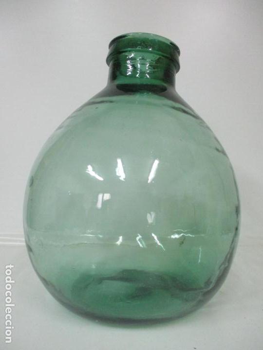 Antigüedades: Bote, Garrafa - Tarro, Damajuana de Cristal Soplado - Color Verde - Viresa - 32 cm Altura - Foto 5 - 171569812