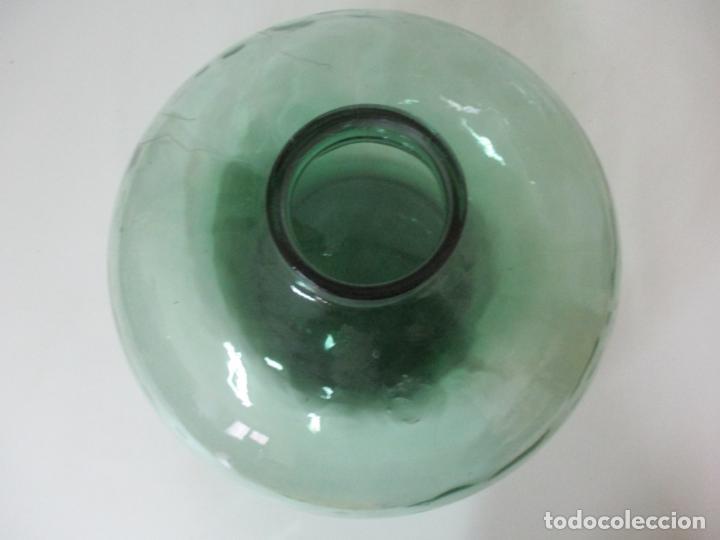 Antigüedades: Bote, Garrafa - Tarro, Damajuana de Cristal Soplado - Color Verde - 42 cm Diámetro - Foto 5 - 152075846